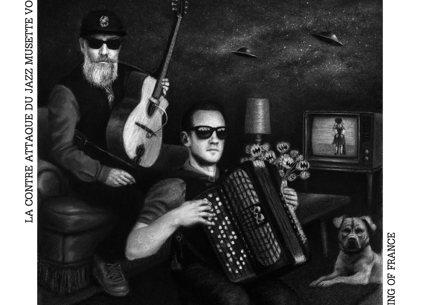 """Couverture du disque """"La contre-attaque du jazz musette Vol.2 : dessin noir et blanc de l'accordéoniste Erwan Mellec et du guitariste Thomas Le Briz"""